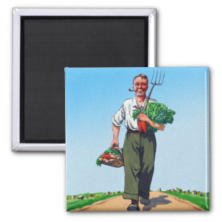 Vintage Garden Gardening Harvest Man Vegetables Magnet