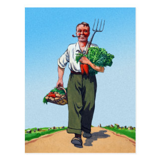 Vintage Garden Gardening Harvest Man Vegetables Postcard