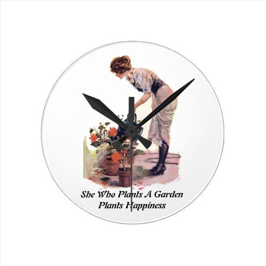 Vintage Garden Gardening Woman Watering Flowers Round Clock