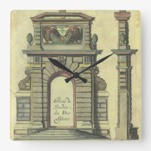 Vintage Garden Gate Arch, Renaissance Architecture Square Wall Clock