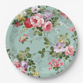 "Vintage Garden Paper Plates 9"""