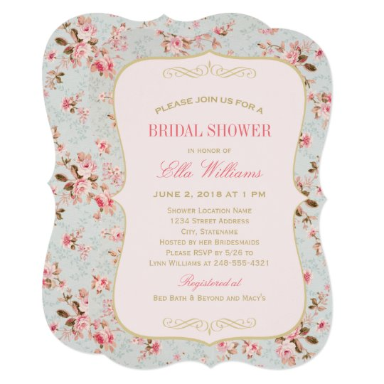 Vintage Garden Party Pink Fl Bridal Shower Invitation