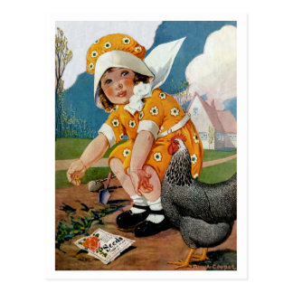 """VINTAGE GARDEN """"PLANTING TIME"""" BABY AND ROOSTER POSTCARD"""