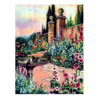 Vintage Garden Rain Postcard