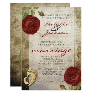 Vintage Garden Red Rose Wedding Invitation