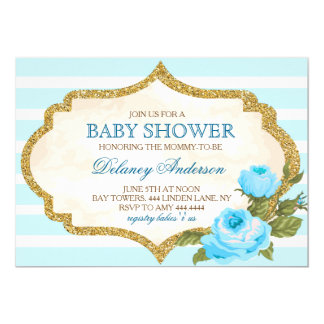 Vintage Garden Rose Baby Shower Invitation