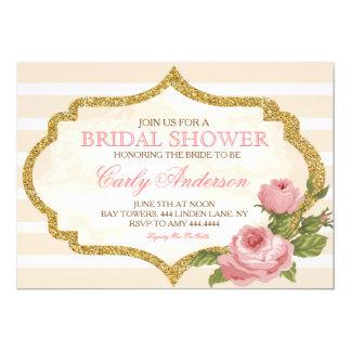 Vintage Garden Rose Bridal Shower Invitation