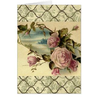Vintage Garden Rose Card