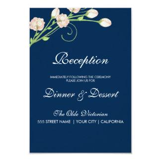 Vintage Garden Roses on Blue -Reception Card