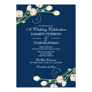 Vintage Garden Roses On Blue - Wedding Invitations