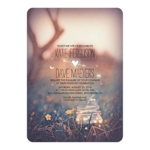 Vintage Garden Rustic Mason Jar Elegant Wedding Invitation