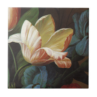 Vintage Garden Tulip in Bloom, Victorian Flowers Ceramic Tile