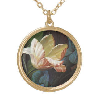 Vintage Garden Tulip in Bloom, Victorian Flowers Gold Plated Necklace