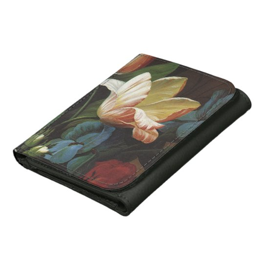 Vintage Garden Tulip in Bloom, Victorian Flowers Leather Trifold Wallets
