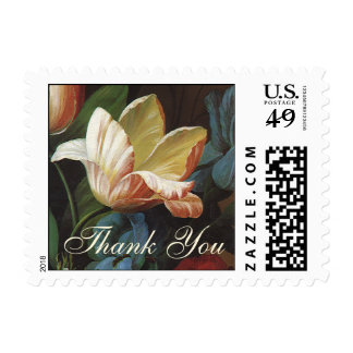 Vintage Garden Tulips, Victorian Flowers Thank You Postage