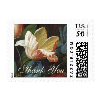 Vintage Garden Tulips, Victorian Flowers Thank You Postage