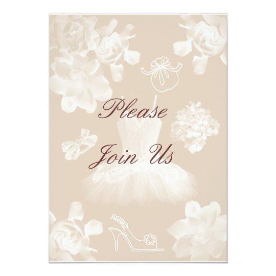 Vintage Gardenia Bridal Shower Invitation