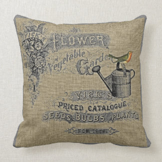 Vintage Gardening Watering Can Robin Burlap Throw Pillow