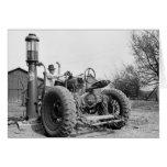 Vintage Gas Pump on the Farm, 1940s Greeting Card