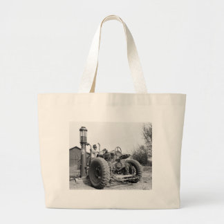 Vintage Gas Pump on the Farm, 1940s Large Tote Bag
