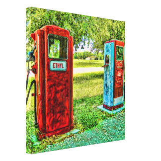 Vintage Gas Pump Photography Canvas