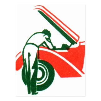 Vintage Gas Station Mechanic Graphic Spot Art Postcard