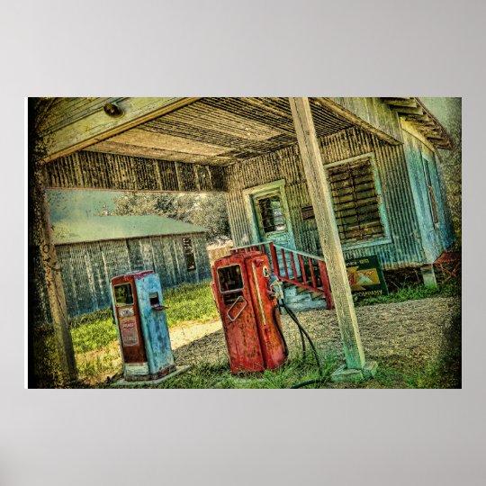 Vintage Gas Station Poster