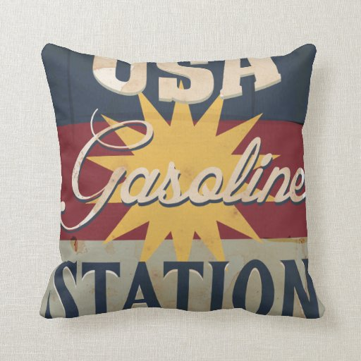 Vintage Gasoline Sign Throw Pillows