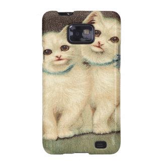 Vintage, gatitos blancos lindos samsung galaxy SII funda
