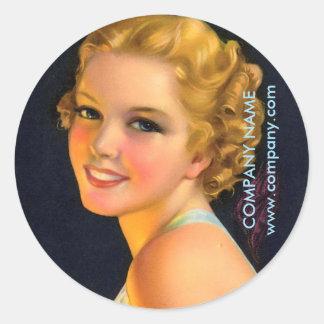 vintage gatsby girl SPA salon hair makeup artist Classic Round Sticker