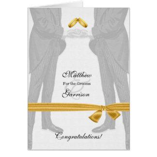 Vintage gay de los novios de la enhorabuena dos tarjeta de felicitación