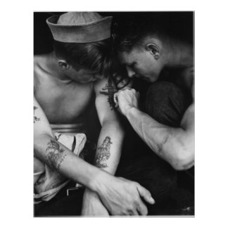 Vintage gay interest hunk sailors with tattoos poster