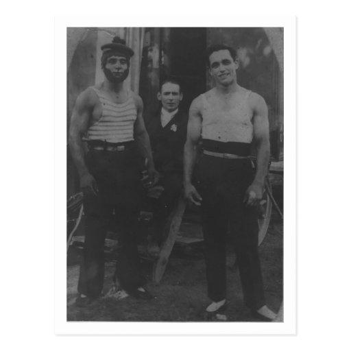 Vintage Gay interest muscular circus acrobats Postcard