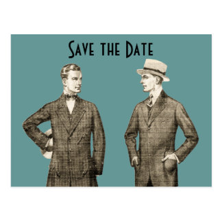 Vintage Gay Save the Date Postcard