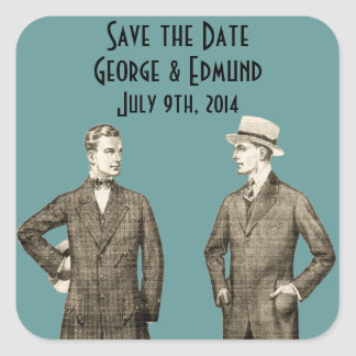 Vintage Gay Save the Date Square Sticker