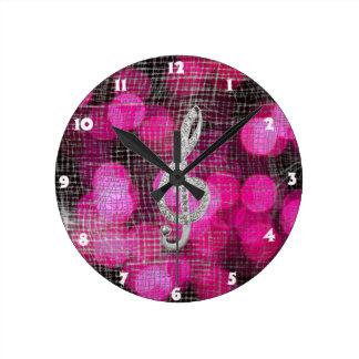 Vintage Gclef Staff Round Clock