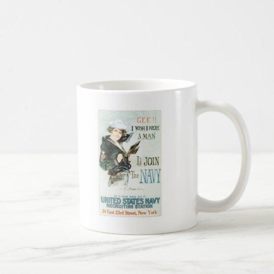 Vintage Gee I wish I were a man Poster Coffee Mug