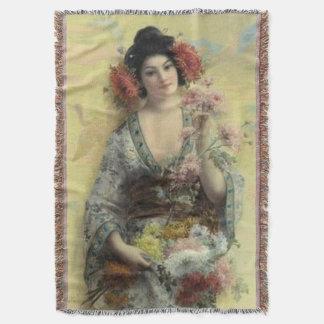 Vintage Geisha Afghan Throw Blanket