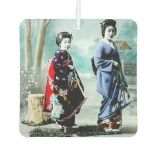 Vintage Geisha and Her Maiko 芸者 舞妓 Old Japan Air Freshener