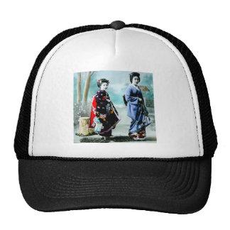 Vintage Geisha and Her Maiko 芸者 舞妓 Old Japan Trucker Hat