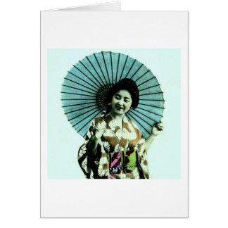 Vintage Geisha and Her Parasol Old Japan Card