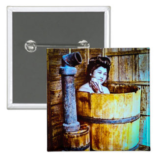 Vintage Geisha Bathing in Wooden Tub in Old Japan Button