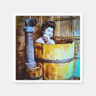 Vintage Geisha Bathing in Wooden Tub in Old Japan Paper Napkin