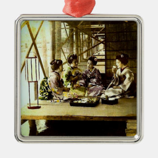 Vintage Geisha Dining Together in Old Japan Dinner Metal Ornament