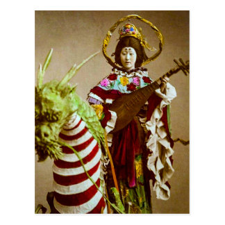 Vintage Geisha Dressed as Goddess Benzaiten Japan Postcard