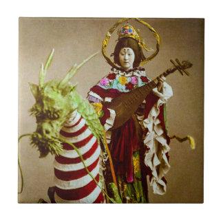 Vintage Geisha Dressed as Goddess Benzaiten Japan Tile