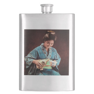 Vintage Geisha Imbibing in a Cup of Sake old Japan Flask