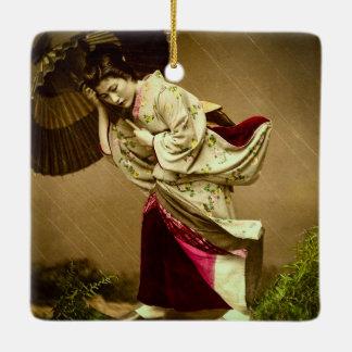 Vintage Geisha in a Springtime Rain Glass Slide Ceramic Ornament
