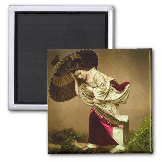 Vintage Geisha in a Springtime Rain Glass Slide Magnet