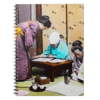 Vintage Geisha in Old Japan Reading Spiral Notebook